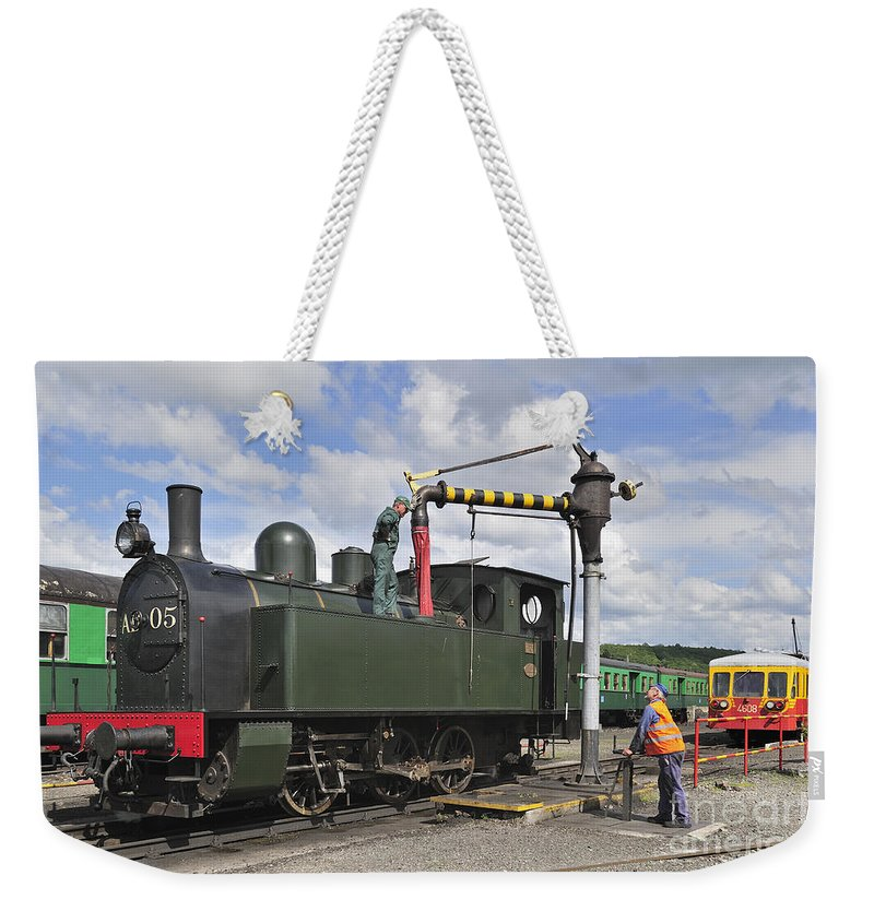 Steam Train Weekender Tote Bag featuring the photograph 120520p304 by Arterra Picture Library
