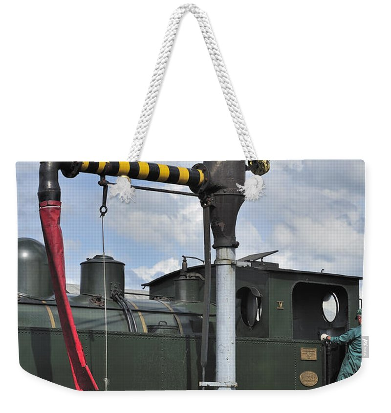 Steam Train Weekender Tote Bag featuring the photograph 120520p306 by Arterra Picture Library