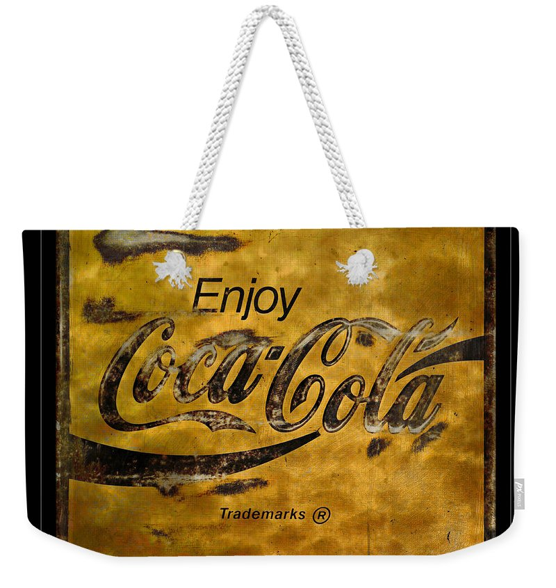 Coca Cola Weekender Tote Bag featuring the photograph Coca Cola Sign Grungy Retro Style by John Stephens