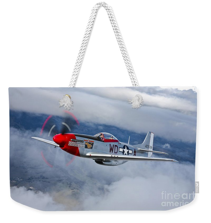 Horizontal Weekender Tote Bag featuring the photograph A P-51d Mustang In Flight by Scott Germain