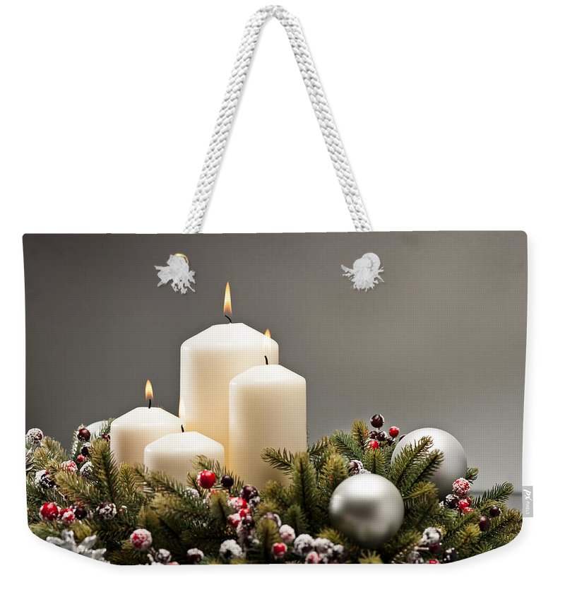 Cone Weekender Tote Bag featuring the photograph Advent Wreath by U Schade