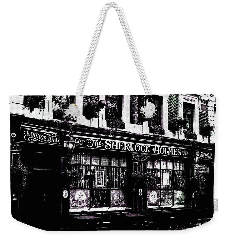 Sherlock Holmes Weekender Tote Bag featuring the digital art The Sherlock Holmes Pub by David Pyatt
