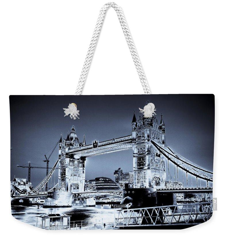 Bridge Weekender Tote Bag featuring the digital art Tower Bridge Art by David Pyatt