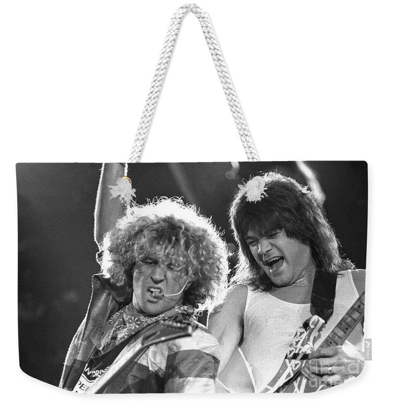 Sammy Hagar Weekender Tote Bag featuring the photograph Van Halen - Sammy Hagar With Eddie Van Halen by Concert Photos