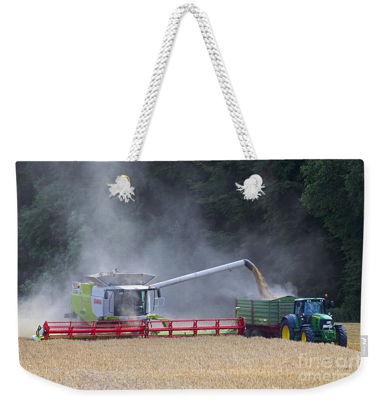 Combine Harvester Weekender Tote Bag featuring the photograph 130201p019 by Arterra Picture Library