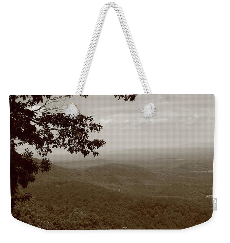 America Weekender Tote Bag featuring the photograph Blue Ridge Mountains - Virginia Sepia 9 by Frank Romeo