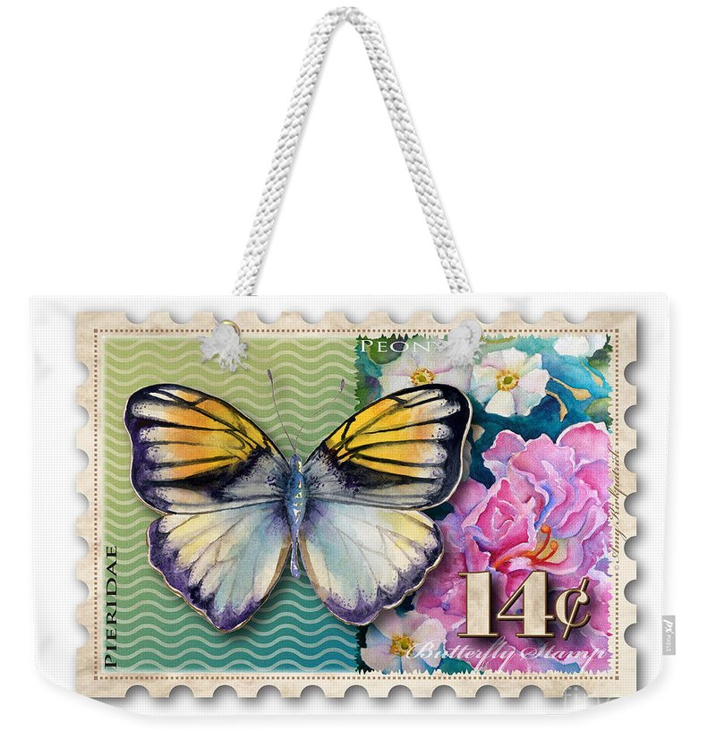 Pieridae Weekender Tote Bag featuring the painting 14 Cent Butterfly Stamp by Amy Kirkpatrick