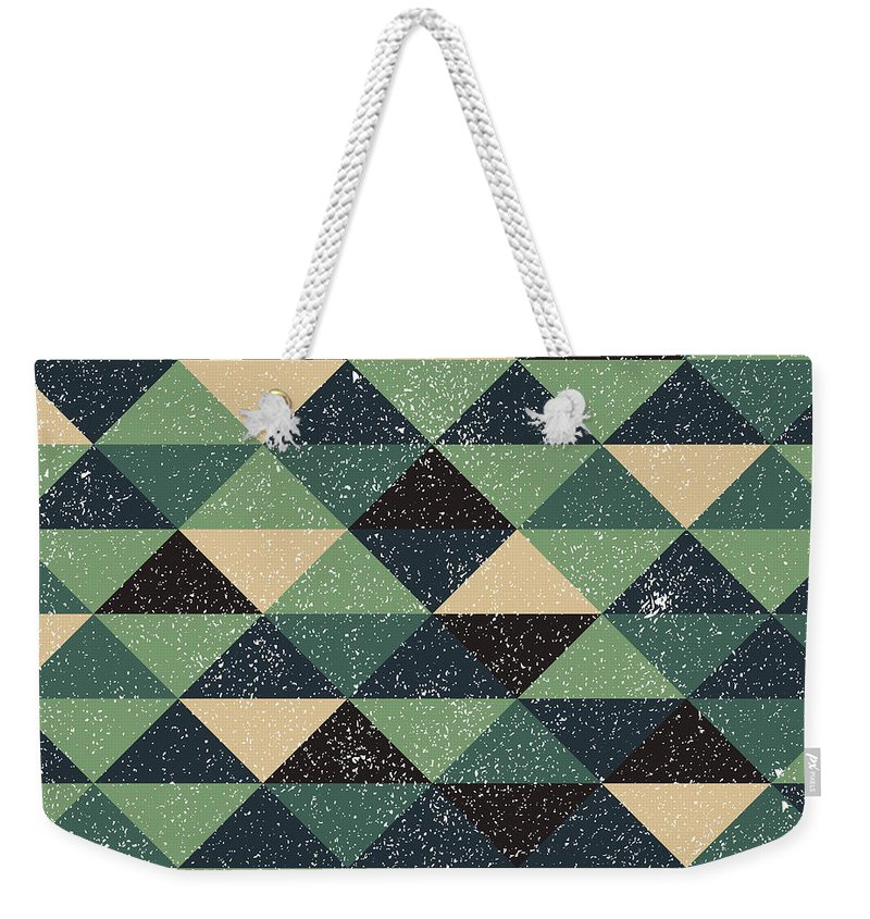 Pixel Weekender Tote Bag featuring the digital art Pixel Art by Mike Taylor