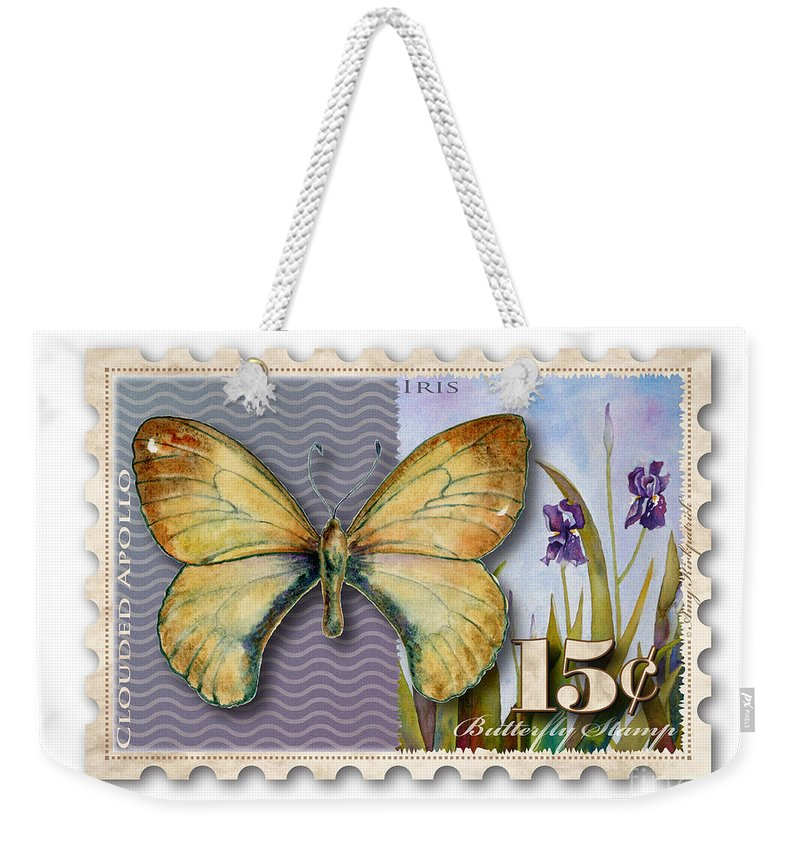 Clouded Weekender Tote Bag featuring the painting 15 Cent Butterfly Stamp by Amy Kirkpatrick