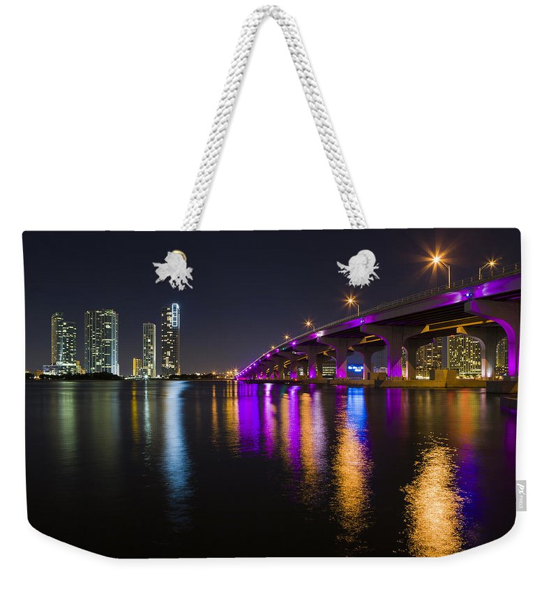 Architecture Weekender Tote Bag featuring the photograph Miami Downtown Skyline by Raul Rodriguez