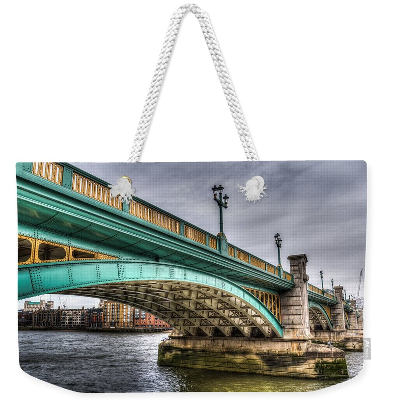 Southwark Weekender Tote Bag featuring the photograph Southwark Bridge London by David Pyatt