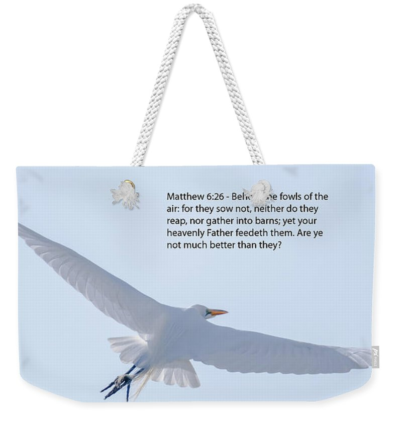 White Heron Weekender Tote Bag featuring the photograph Soaring Heron by Dale Powell