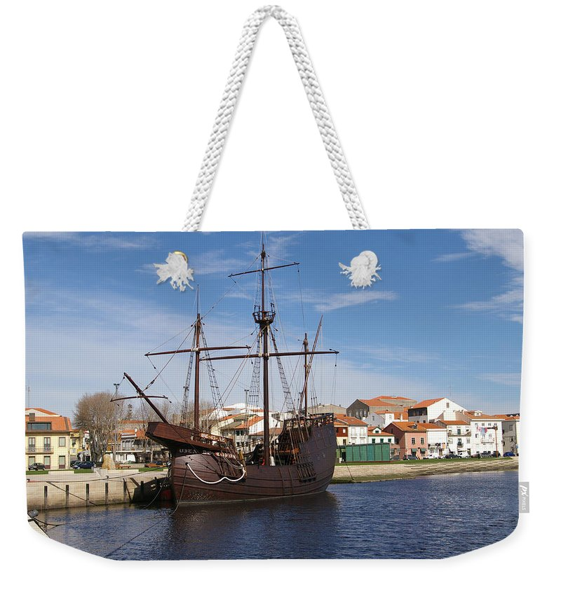 Ship Weekender Tote Bag featuring the photograph 16th Century Ship by Paulo Goncalves