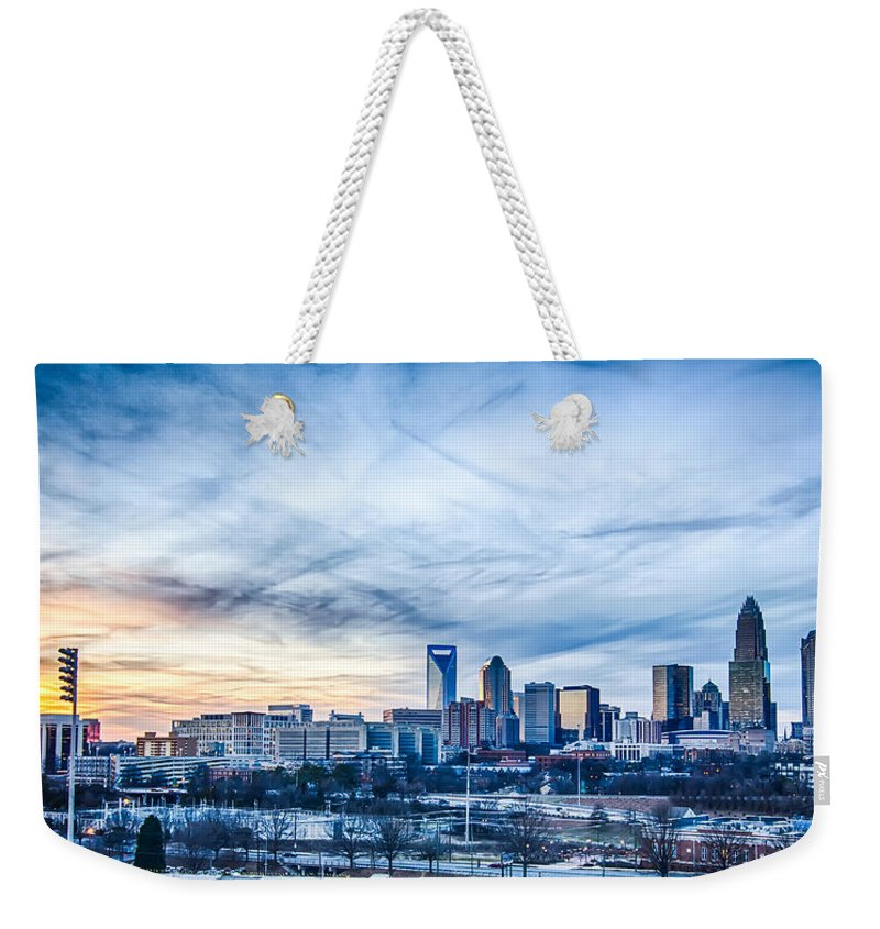 Sunset Weekender Tote Bag featuring the photograph Charlotte Downtown by Alex Grichenko