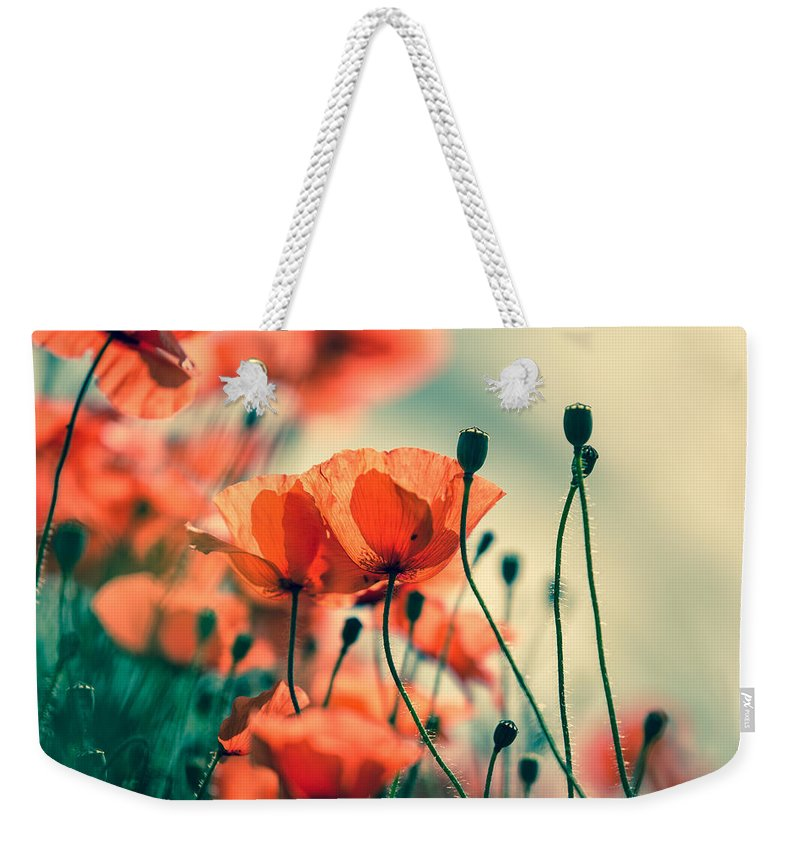 Poppy Weekender Tote Bag featuring the photograph Poppy Meadow by Nailia Schwarz