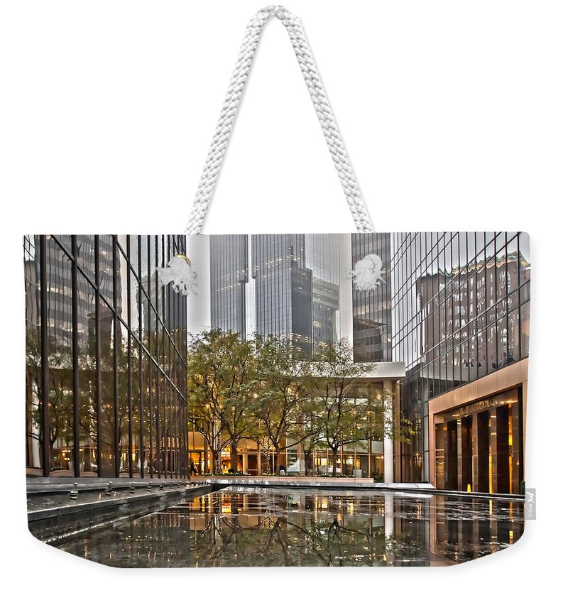 North Weekender Tote Bag featuring the photograph Skyline Of Uptown Charlotte North Carolina by Alex Grichenko