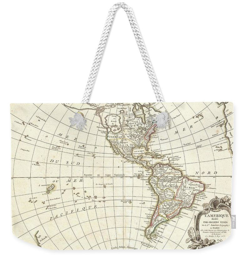 An Altogether Fascinating Map Of North America And South America By Jean Janvier Dating To 1862. Covers Both Continents From The Antarctic Circle To The Arctic Circle Weekender Tote Bag featuring the photograph 1762 Janvier Map Of North America And South America by Paul Fearn