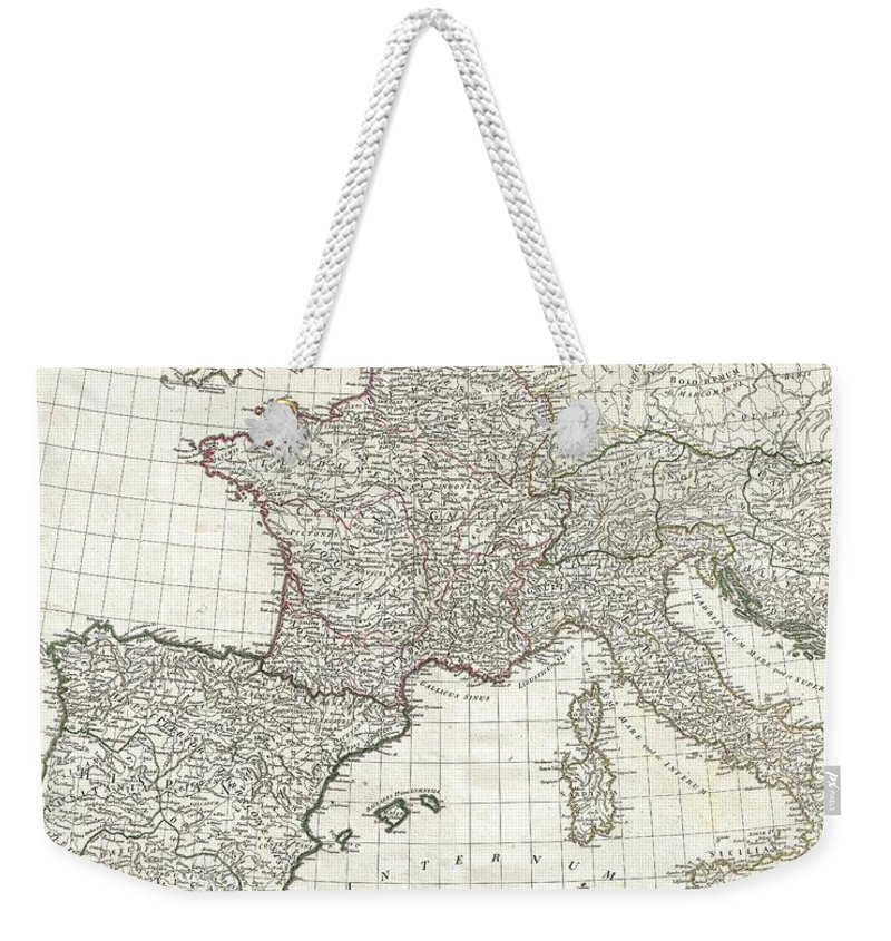 This Is The Stunning Western Sheet From Jean Baptiste Bourguignon D'anville's Two Map Set Depicting The Roman Empire. Depicts The Western Portion Of The Roman Empire From Italy And Dalmatia Westward To Include All Of Spain Weekender Tote Bag featuring the photograph 1763 Anville Map Of The Western Roman Empire by Paul Fearn