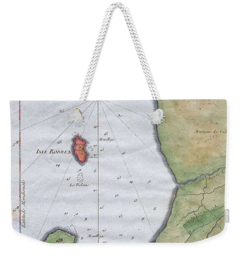 This Hand Colored Map Is A C. 1763 Map Of The Cape Of Good Hope And Cape Town Weekender Tote Bag featuring the photograph 1763 Bellin Map Of Cape Town by Paul Fearn