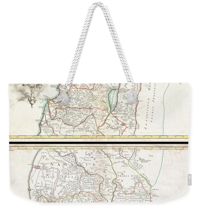 A Beautiful Example Of Guillaume And Joseph De L'isle's 1762 Decorative Map Of The Holy Land Weekender Tote Bag featuring the photograph 1763 De Lisle Map Of The Holy Land by Paul Fearn