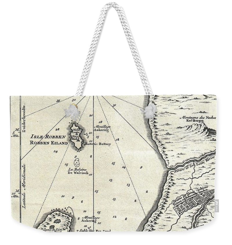 Weekender Tote Bag featuring the photograph 1773 Bellin Map Of The Cape Of Good Hope Capetown South Africa by Paul Fearn