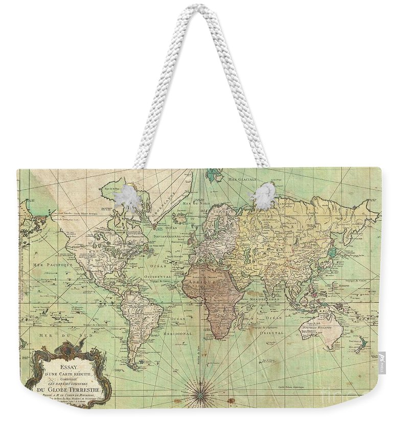 Weekender Tote Bag featuring the photograph 1778 Bellin Nautical Chart Or Map Of The World by Paul Fearn