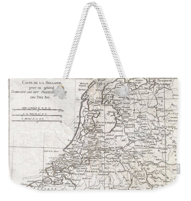 A Fine Example Of Rigobert Bonne And Guilleme Raynal's 1780 Map Of Holland. Shows Towns Weekender Tote Bag featuring the photograph 1780 Raynal And Bonne Map Of Holland And Belgium by Paul Fearn