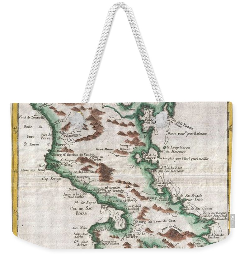 A Fine Example Of Rigobert Bonne And Guilleme Raynal's 1780 Map Of The Island Of Martinique. Highly Detailed Weekender Tote Bag featuring the photograph 1780 Raynal And Bonne Map Of Martinique West Indies by Paul Fearn