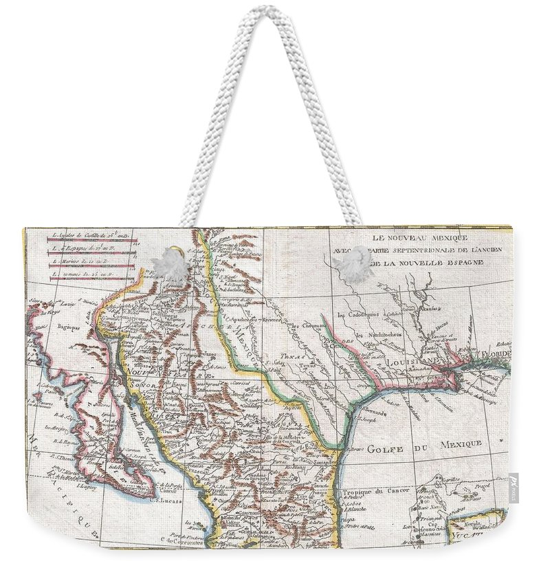 This Is A Beautiful C. 1780 Bonne Map Of Northern Mexico And Texas. Covers From The Pacific Ocean Through Mexico Weekender Tote Bag featuring the photograph 1780 Raynal And Bonne Map Of Mexico And Texas by Paul Fearn