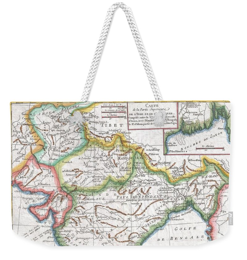 A Fine Example Of Rigobert Bonne And Guilleme Raynal's 1780 Map Of Northern India. Covers The Northern Part Of India From Kandahar (candahar) And Kashmir (cachemire) South As Far As Decan. Includes The Areas Claimed By The Mogol Empire Weekender Tote Bag featuring the photograph 1780 Raynal And Bonne Map Of Northern India by Paul Fearn