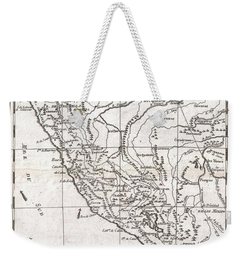 A Fine Example Of Rigobert Bonne And Guillaume Raynal's 1780 Map Of Peru. Covers From The Pacific Well Into The Amazon And As Far South As The Aconcagua Desert. Shows Tradewinds In The Pacific And Shows Mountains In Profile. A Number Of Important Indigenous Villages And Mission Stations Are Noted. Highly Detailed Weekender Tote Bag featuring the photograph 1780 Raynal And Bonne Map Of Peru by Paul Fearn