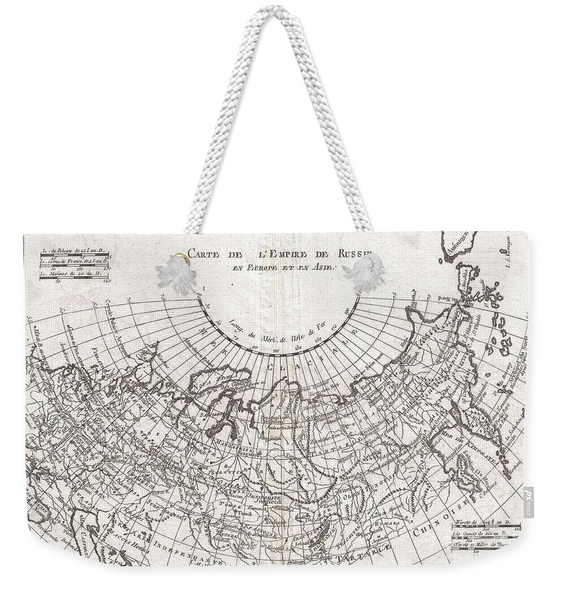 A Fine Example Of Rigobert Bonne And Guillaume Raynal's 1780 Map Of The Russian Empire. Shows Entire Russian Empire Stretching From Europe To The Behring Strait Weekender Tote Bag featuring the photograph 1780 Raynal And Bonne Map Of Russia by Paul Fearn