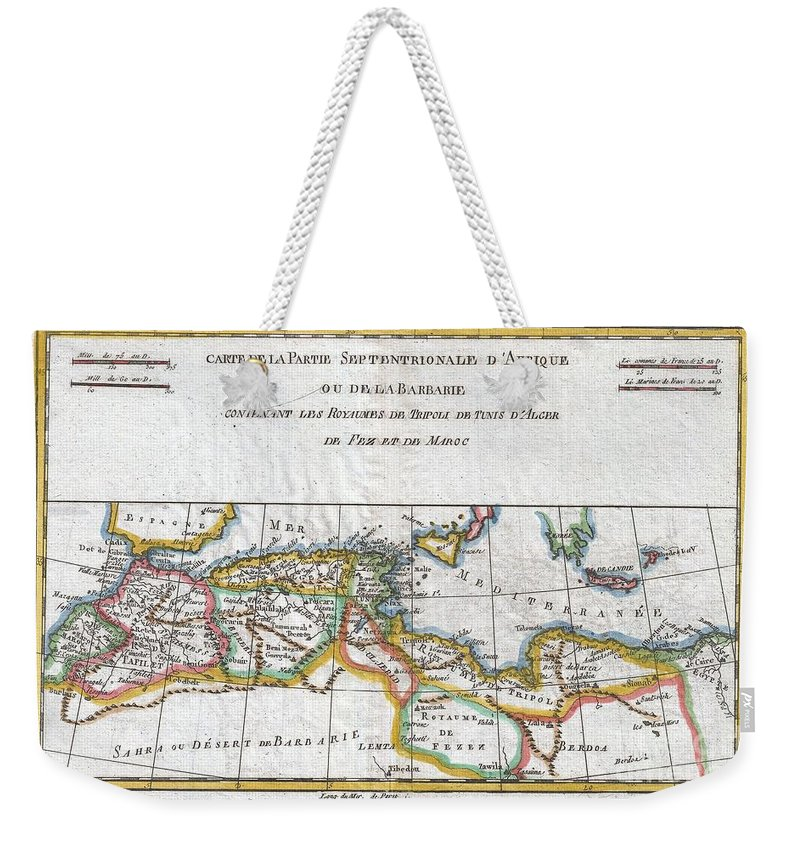 A Fine Example Of Rigobert Bonne And Guilleme Raynal's 1780 Map Of Northwestern Africa Or The Barbary Coast. Includes The Modern Day Countries Of Morocco Weekender Tote Bag featuring the photograph 1780 Raynal And Bonne Map Of The Barbary Coast Of Northern Africa by Paul Fearn