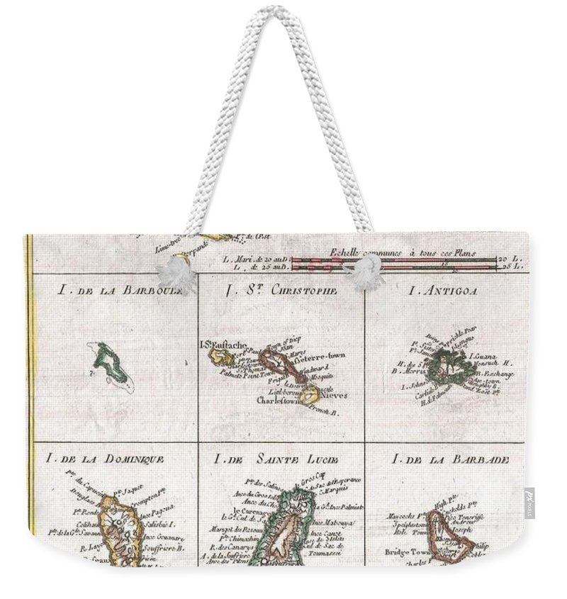 A Fine Example Of Rigobert Bonne And Guilleme Raynal's 1780 Map Of The Antilles Or West Indies. Essentially 10 Maps In One. Uppermost Map Is The Largest And Details The Region From Porto Rico To St. Martin Weekender Tote Bag featuring the photograph 1780 Raynal And Bonne Map Of The Virgin Islands And Antilles West Indies by Paul Fearn