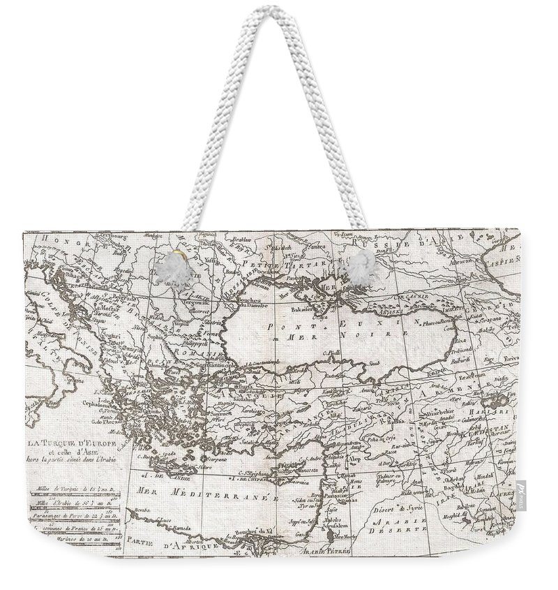 A Fine Example Of Rigobert Bonne And Guilleme Raynal's 1780 Map Of Turkey In Europe And Asia. This Map Of The Ottoman Empire Includes The Areas Stretching From Italy Weekender Tote Bag featuring the photograph 1780 Raynal And Bonne Map Of Turkey In Europe And Asia by Paul Fearn