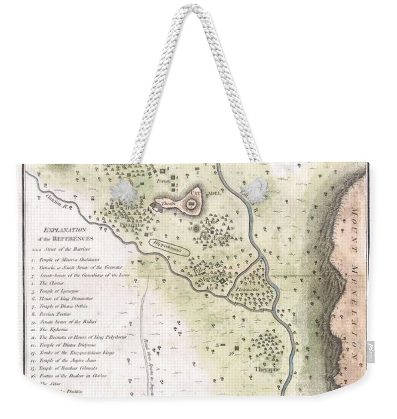 This Lovely Little Map Of Sparta Weekender Tote Bag featuring the photograph 1783 Bocage Map Of The Topography Of Sparta Ancient Greece And Environs by Paul Fearn