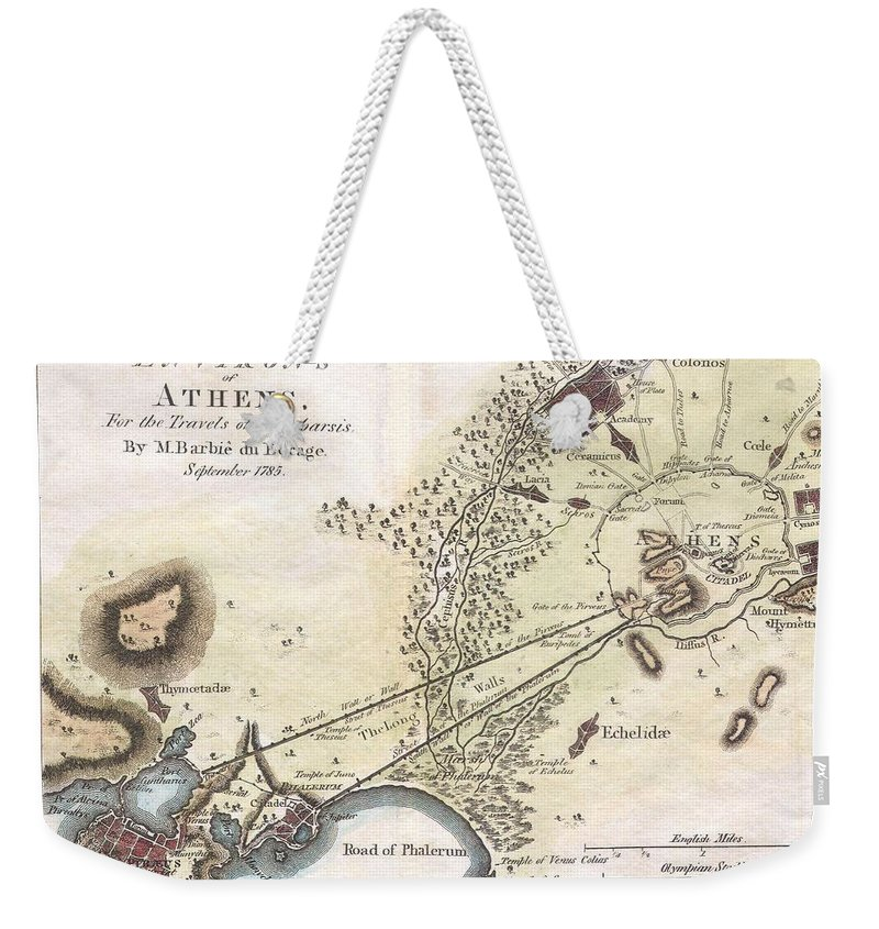 This Lovely Little Map Or City Plan Of Athens In Ancient Greece Weekender Tote Bag featuring the photograph 1784 Bocage Map Of The City Of Athens In Ancient Greece by Paul Fearn