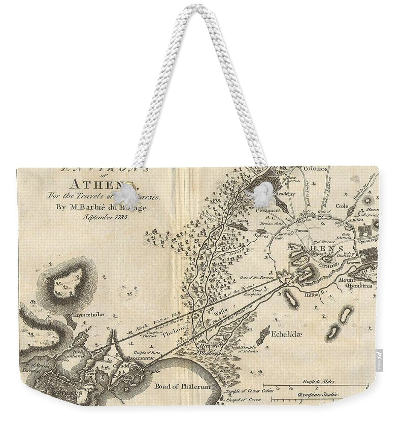 This Lovely Little Map Or City Plan Of Athens And Environs In Ancient Greece Weekender Tote Bag featuring the photograph 1785 Bocage Map Of Athens And Environs Including Piraeus In Ancient Greece by Paul Fearn