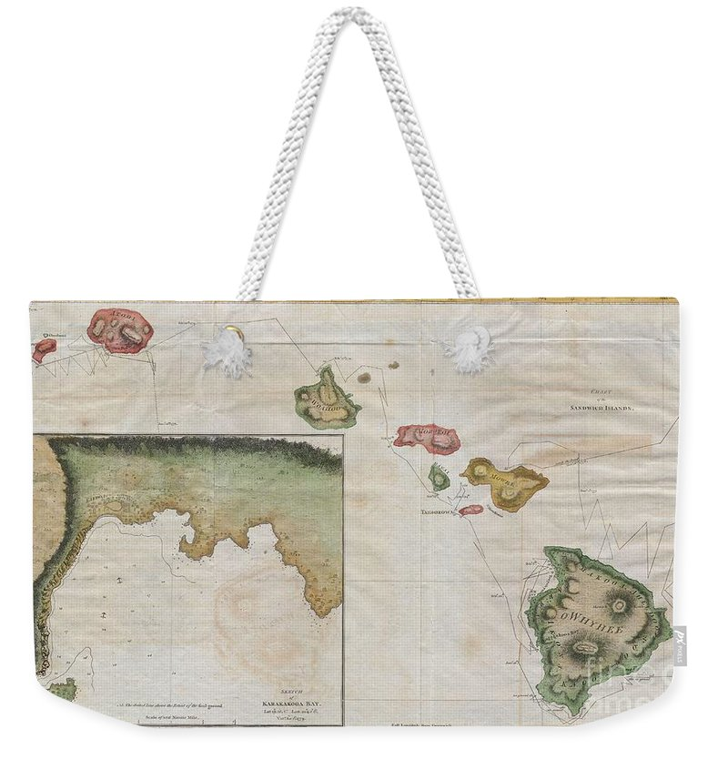 Offered Here Is An Extraordinary And Important Map Of The Hawaiian Islands (sandwich Islands) Printed By G. Nicol And T. Cadell For The 1785 Edition Of Captain James Cook And James King's Weekender Tote Bag featuring the photograph 1785 Cook Bligh Map Of Hawaii by Paul Fearn