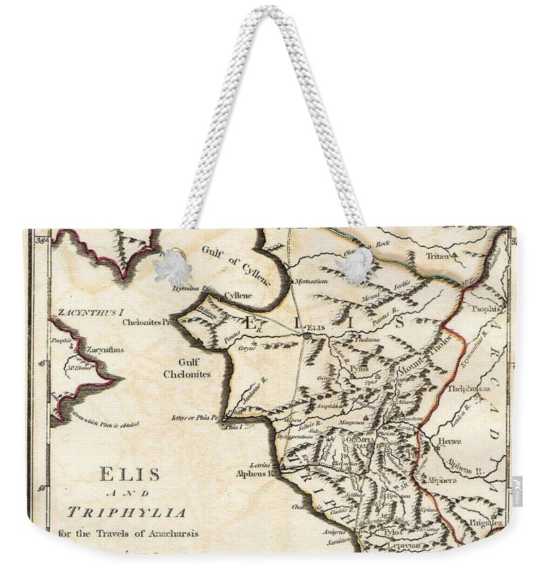 This Lovely Little Map Of Elis And Triphylia Weekender Tote Bag featuring the photograph 1786 Bocage Map Of Elis And Triphylia In Ancient Greece by Paul Fearn