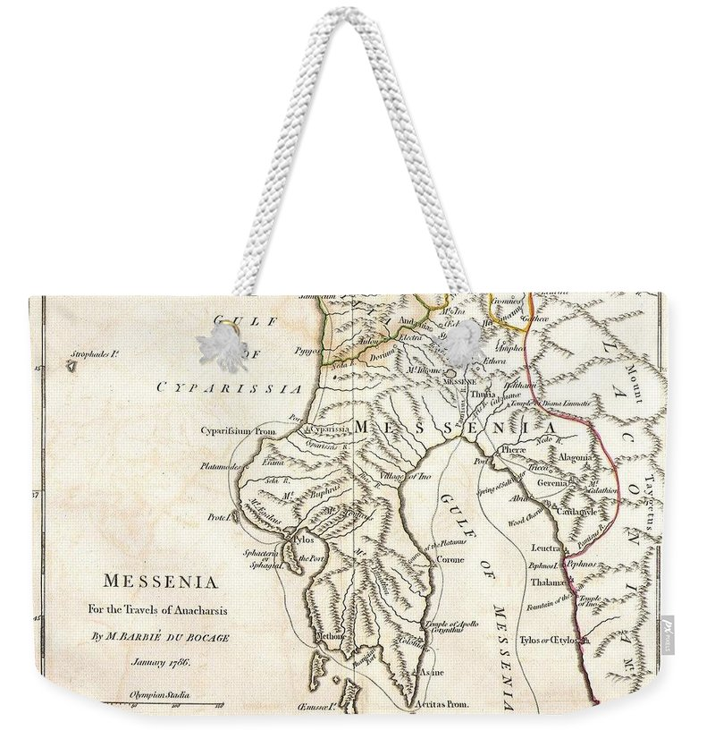 This Lovely Little Map Of Messenia Weekender Tote Bag featuring the photograph 1786 Bocage Map Of Messenia In Ancient Greece by Paul Fearn