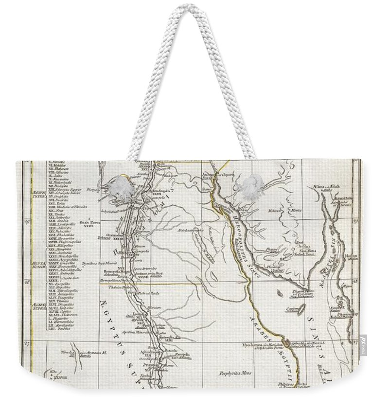 A Large And Dramatic 1794 J. B. B. D'anville Map Of Ancient Egypt Covers From The Nile Delta And Gaza South As Far As Aswan. Details Mountains Weekender Tote Bag featuring the photograph 1794 Anville Map Of Ancient Egypt by Paul Fearn