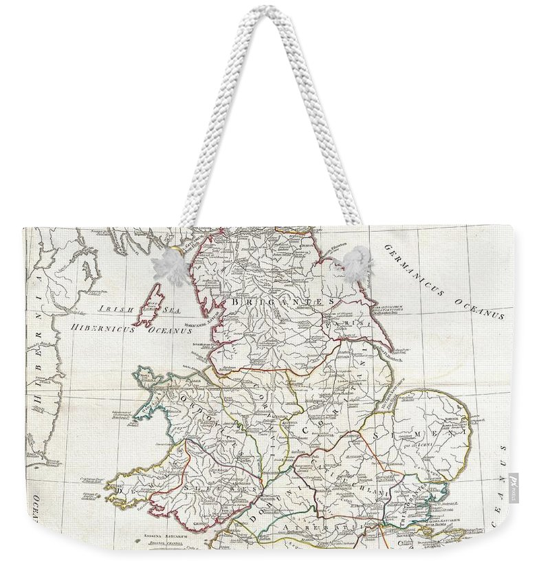 A Large And Dramatic 1794 Map Of England Under Roman Rule. Covers All Of England (province Of Britanniae) As Well As Adjacent Parts Of Scotland Weekender Tote Bag featuring the photograph 1794 Anville Map Of England In Ancient Roman Times by Paul Fearn