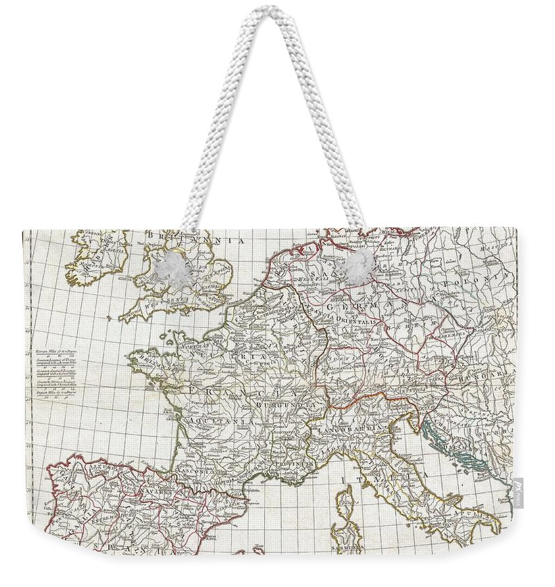 A Large And Dramatic 1794 J. B. B. D'anville Map Of Western Europe. Covers From The British Isles South To Spain And East As Far As Hungary Weekender Tote Bag featuring the photograph 1794 Anville Map Of Europe In Late Roman Times by Paul Fearn