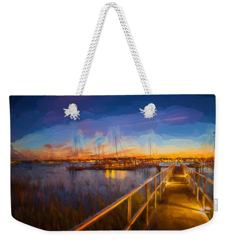 Here Is A Recent Photo Of The Famous Bridge Of Lions Weekender Tote Bag featuring the photograph Bridge Of Lions St Augustine Florida Painted by Rich Franco