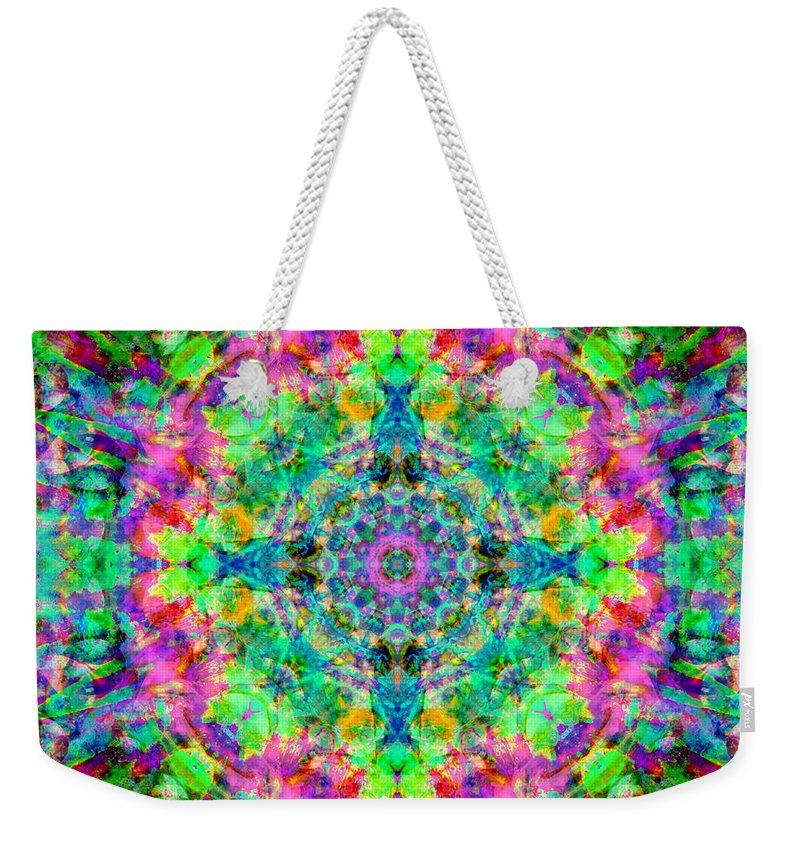 Rainbow Weekender Tote Bag featuring the photograph Rainbow Light Mandala by Susan Bloom