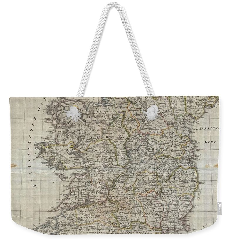 An Uncommon Map Of Ireland Dating To 1804. Though Published By The German Geographical Institute Weekender Tote Bag featuring the photograph 1804 Jeffreys And Kitchin Map Of Ireland by Paul Fearn