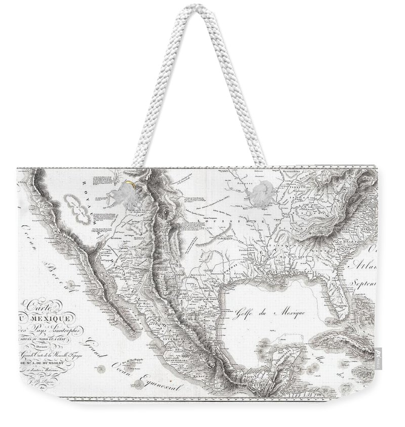 1811 Humboldt Map Of Mexico Weekender Tote Bag featuring the photograph 1811 Humboldt Map Of Mexico Texas Louisiana And Florida by Paul Fearn