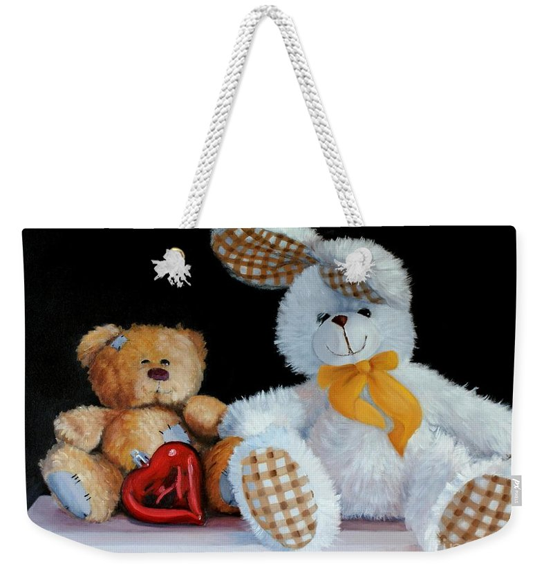 Stuffed Toys Weekender Tote Bag featuring the painting Best Pals by Diana Marshall