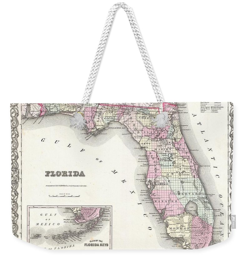 Weekender Tote Bag featuring the photograph 1855 Colton Map Of Florida by Paul Fearn